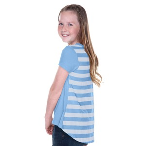 Big Girls 7-16 Striped Jersey Contrast Back High Low Short Sleeve