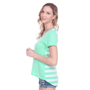 Ladies Striped Jersey Contrast Back High Low Short Sleeve