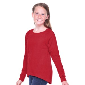 Girls 7-16 Sheer Jersey Raw Edge Raglan High Low Long Sleeve