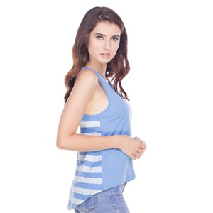 Ladies Striped Jersey Contrast Back High Low Tank