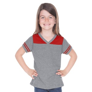 Little Girls 3-6X Sheer Jersey V Neck Football Tee