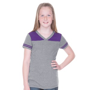 Big Girls 7-16 Sheer Jersey V Neck Football Tee