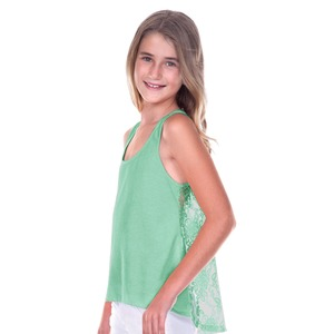 Girls Jersey High Low Lace Back Tank