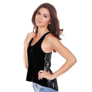 Ladies Jersey High Low Lace Back Tank