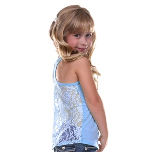 Little Girls 3-6X Jersey Scoop Neck Lace Racer Back Tank