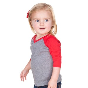 Unisex Infants Sheer Jersey Contrast V Neck Raglan 3/4 Sleeve