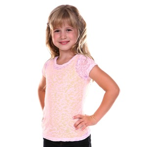 Little Girls 3-6X Burnout Twisted Crew Neck Short Sleeve