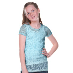 Big Girls 7-16 Burnout Twisted Crew Neck Short Sleeve