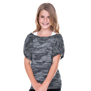 Girls 7-16 Camouflage Striped Burnout Twisted Boat Neck Dolman Sleeve