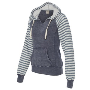 Ladies' Angel Fleece Sanded Piper Striped Hooded Pullover