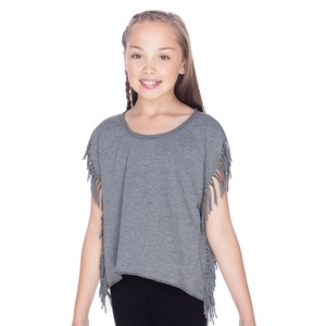 Girls 7-16 Sheer Jersey Raw Edge Side Fringe Asymmetrical Cap Sleeve CropTop