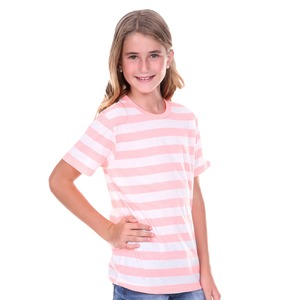 Youth Unisex Striped Jersey Crew Neck Short Sleeve Tee