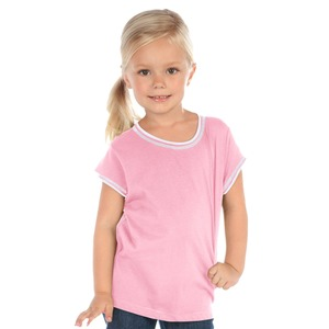 Little Girls 3-6X Contrast Rolling Raw Edge Short Sleeve