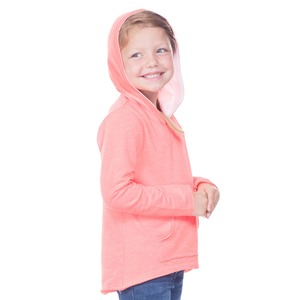 Girls 3-6X French Terry Raw Edge High-Low Long Sleeve Lined Hoodie