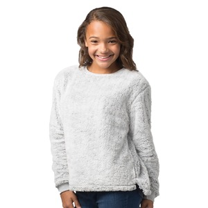 Girls Fuzzy Inside Out Fleece Crew