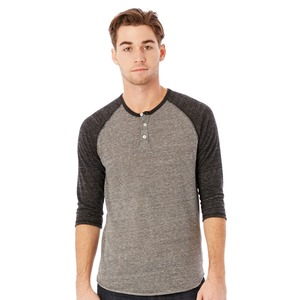 Alternative Adult Unisex Eco Jersey Triblend 3/4-Sleeve Raglan Henley Fashion T-Shirt
