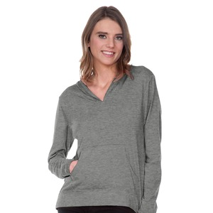 Women Sheer Jersey Raw Edge High Low Long Sleeve Hoodie with Pouch