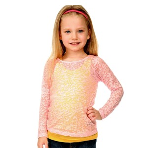 Little Girls 3-6X Burnout Twisted Crew Neck Long Sleeve