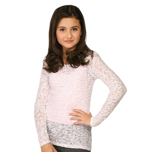 Big Girls 7-16 Burnout Twisted Crew Neck Long Sleeve