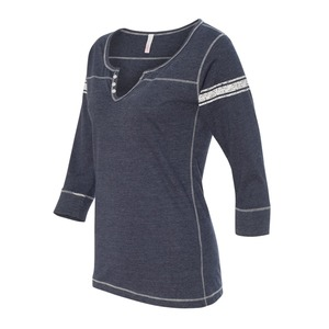 Ladies Hailey Henley Three-Quarter Sleeve Shirt