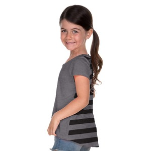 Little Girls 3-6X Striped Jersey Contrast Back High Low Short Sleeve