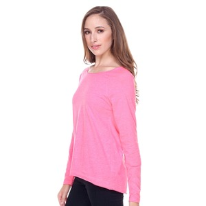Ladies Sheer Jersey Raw Edge Scoop Neck High Low Raglan Long Sleeve