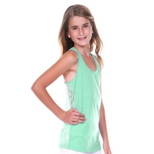 Big Girls 7-16 Jersey Scoop Neck Lace Racer Back Tank