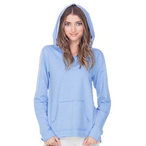 Ladies French Terry Raw Edge High-Low Long Sleeve Lined Hoodie
