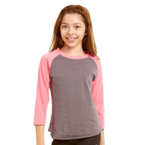 Girls Heathered Baseball Tee