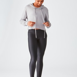 Studio Essentials Ladies Lightweight Crop Hoodie Raw Edge